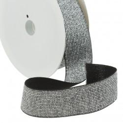Elastique lurex noir-argent - 30mm
