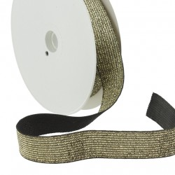 Elastique lurex noir - 20mm