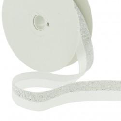 Elastique bicolore lurex blanc-argent - 20mm