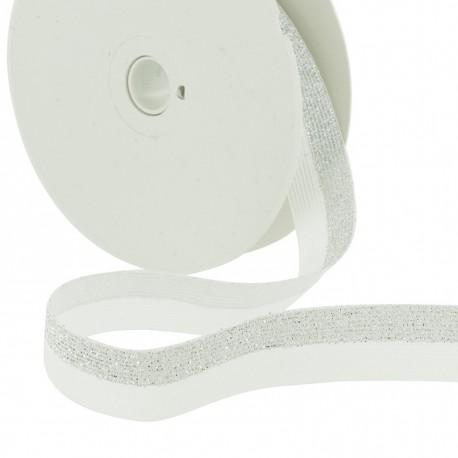 Elastic bicolour silver-white lurex - 20mm
