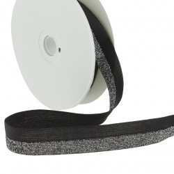Elastique bicolore lurex noir-argent - 20mm