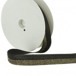 Elastique bicolore lurex noir-or - 20mm