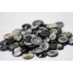 Boutons en vrac - 150gr - tons gris-noirs
