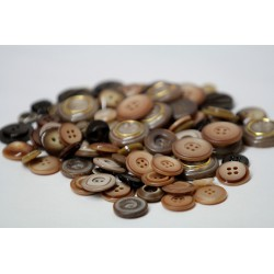Buttons in bulk - 150gr - brown tones