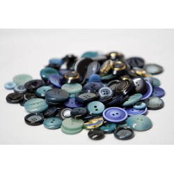 Buttons in bulk - 150gr - blue tones