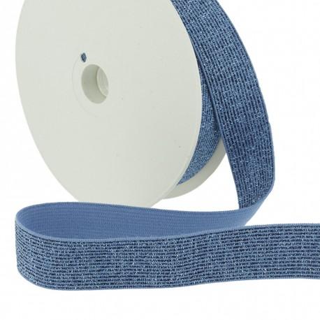 Elastique lurex bleu - 20mm