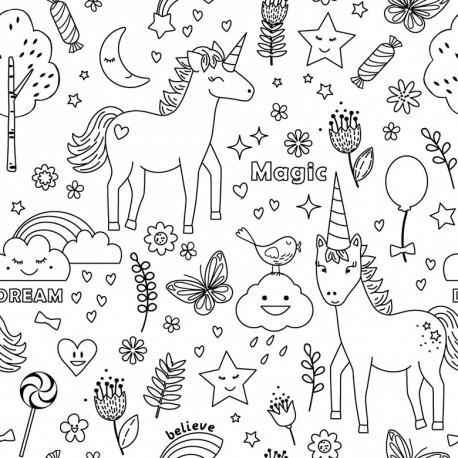 Tissu à colorier - Unicorn