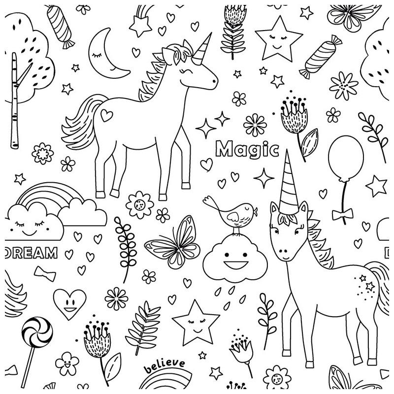 Tissu colorier unicorn je suis croquer - Jeux de licorne gratuit ...