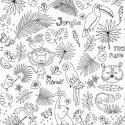 Tissu à colorier - Jungle