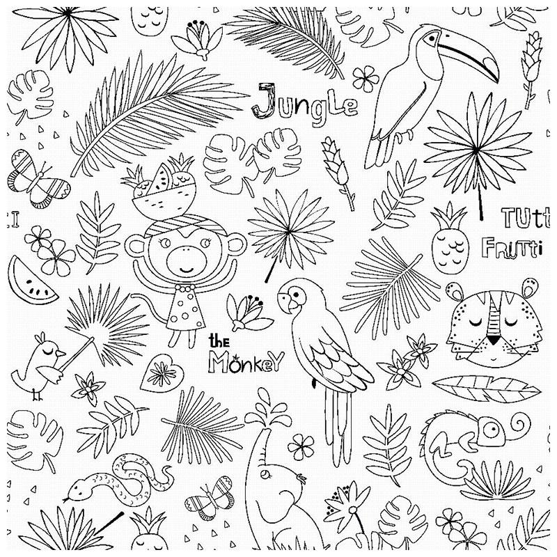tissu colorier jungle loading zoom - Colorier Une Photo