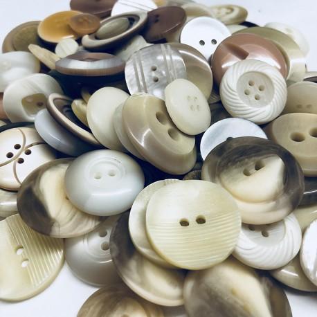 Boutons en vrac - 150gr - tons blancs-écrus