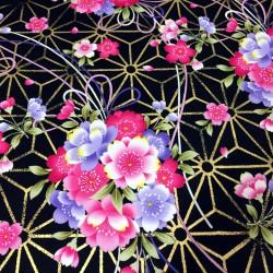 Fleurs japonaises et papillons