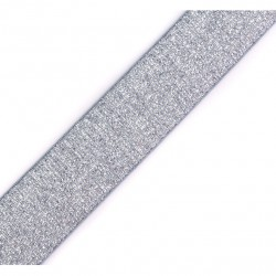 Elastique lurex gris-argent - 27mm