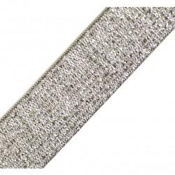 Elastique lurex beige-argent - 20mm