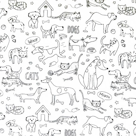 Tissu à colorier - Cats and dogs