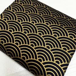 Seikaiha noir-doré - 100cm