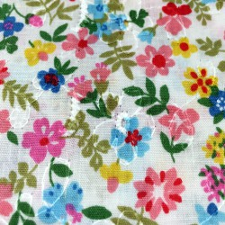 Cosmo - Printed embroidery pink flowers