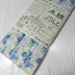 Schrägband mit blau Blumen
