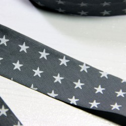 Bias tape France Duval-Stalla grey with white stars