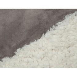 Minky Llama - micro-suédine - Ivory-Charcoal