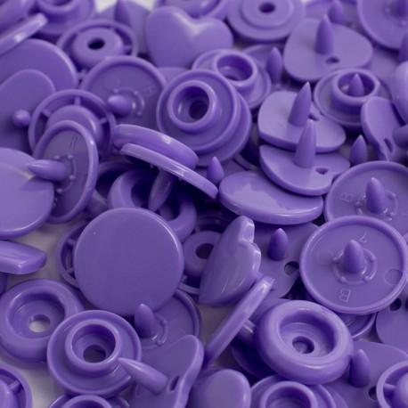 Pressions KAM coeurs violets - 20x