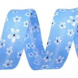 Biais fleurs bleu