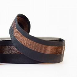 Ceinture élastique - Noir lignes cuivre - 5cm