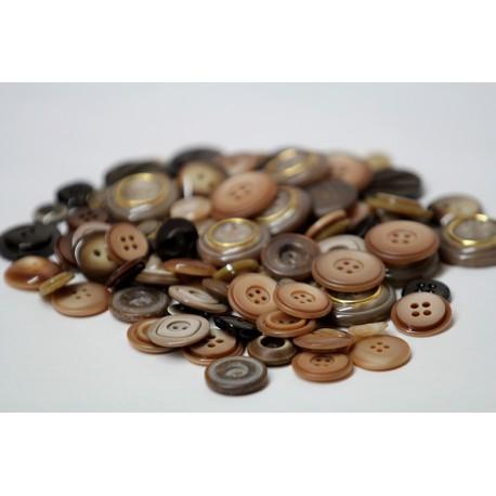 Buttons in bulk - 150gr - brown tones
