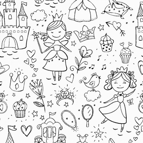 Tissu à colorier - Fairy