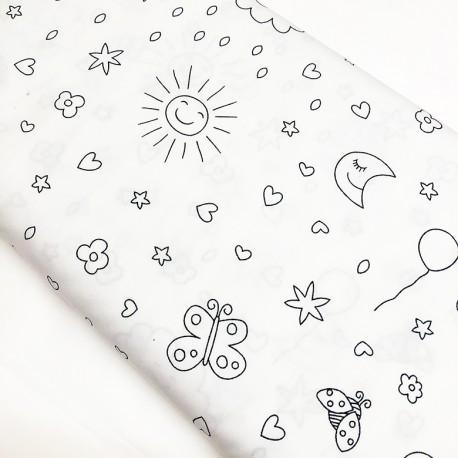 Tissu à colorier - Sky