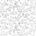 Tissu à colorier - Dino
