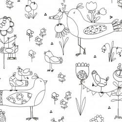 Tissu à colorier - Birds
