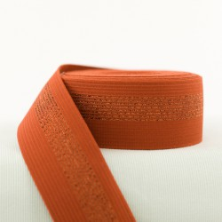 Elastic waistband - Rust with Copper Lines - 5cm
