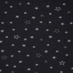 Jersey glitter black stars - 112cm