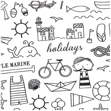 Tissu à colorier - Holidays
