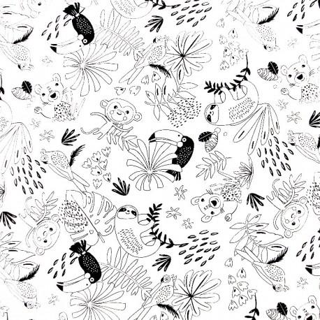 Tissu à colorier - Jungle animals