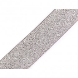 Elastic silver-taupe lurex - 40mm