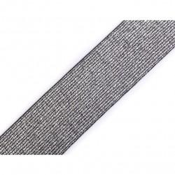 Elastic silver-black lurex - 40mm