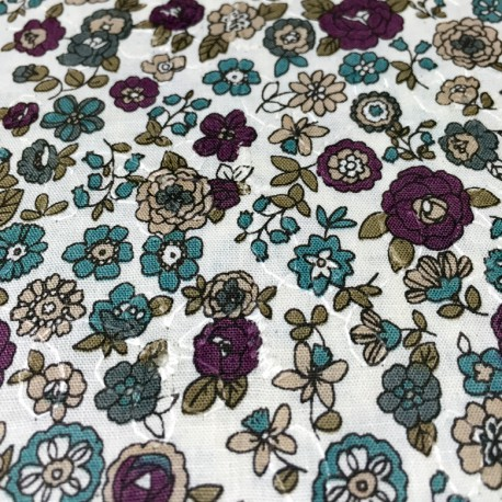 Cosmo - Printed embroidery blue flowers