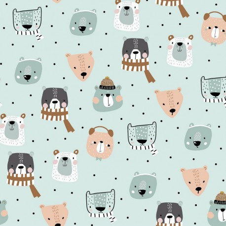 French terry winter animals