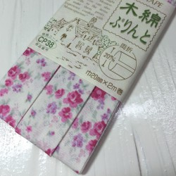 Bias tape with pink flowers