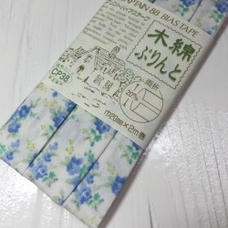 Bias tape with blue flowers